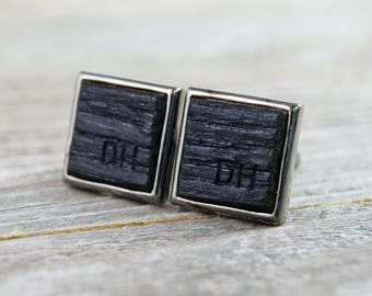 Whiskey Barrel Cufflinks in Square Bezel - CUSTOM ENGRAVED! (Silver and Gunmetal options available!)