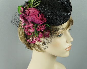 Vintage 1940s Hat Black Straw Tilt with Pink Florals New York Creations