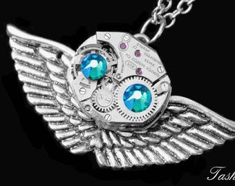 Tiny Owl Charm Necklace for Women, Steampunk Jewelry, Silver Pendant