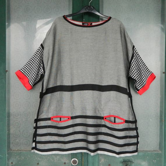 Ark Istanbul Short-Sleeve Sleeve Tunic -L- Black/White/Blue Polyester NWT