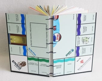 Winnipeg Monopoly Journal Recycled Game Board Book Upcycled Winnipeg on Board Game Notebook by PrairiePeasant
