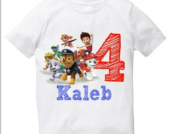 Paw Patrol Super dogs birthday boy t shirt with name