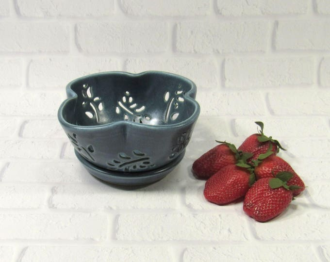 Featured listing image: Ceramic Berry Bowl - Berry Bowl Colander - berry bowl and saucer - Berry Bowl Set - Berry Bowl Strainer - Berry Washing Bowl - Fruit Bowl