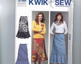 Misses Sewing Pattern Kwik Sew 3789 Patchy Denim Jeans Skirt A Line Long Flounce Piecework Size XS S M L XL UNCUT