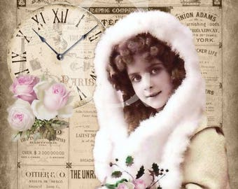 Vintage Christmas Victorian girl photo pink roses Large digital download ECS buy 3 get one free SVFteam