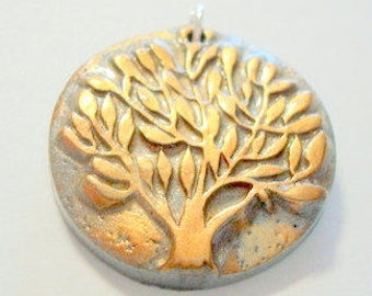 Silver and Copper Leafy Tree of Life Handmade Polymer Clay Pendant