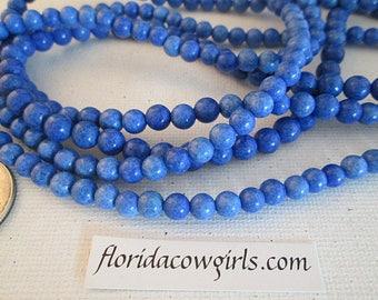 Jasper Beads, 6mm Round, Dyed Jasper, Navajo Blue, Gemstone Beads, Loose Beads - gm629nb