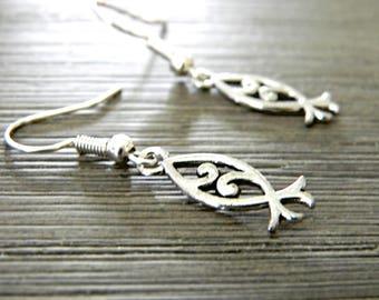 Pretty Jesus Fish Earrings Silver Color Dangle Earrings