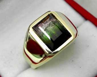 AAA Watermelon Tourmaline 10x7mm  3.87 Carats   Heavy 14K Yellow gold Emerald cut Mans oring 15-16 grams 1772