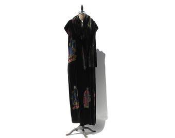 Vintage Black Velvet w Burnout Asian Inspired Evening Maxi Dress