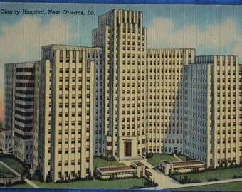 Charity Hospital New Orleans LA Louisiana Linen Postcard 1944