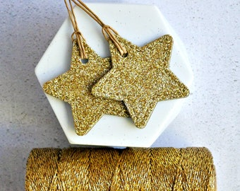 Gold Glitter Star Tags {10}   Gold Glitter Tags   Gold Glitter Stars   Gold Star Tags   Christmas in July