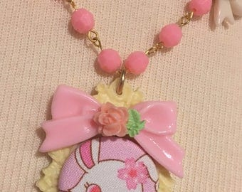Jewelpets Ruby Anime Bunny Rabbit Decorative Filigree Setting With Roses Pink Beaded Necklace