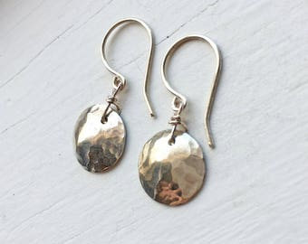 Petite Hammered Silver Earrings