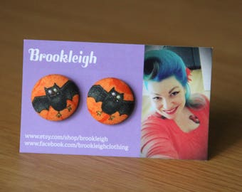 Bat Halloween Horror Button Earrings 23mm Hypoallergenic/Retro Vintage inspired