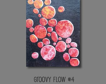 Groovy Abstract Acrylic Flow Painting #4 Ready to Hang 8x10