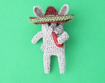 Mexican rabbit brooch - rabbit wearing a sombrero and eating a chili pepper, animal brooch, rabbit jewelry, food brooch, food jewelry