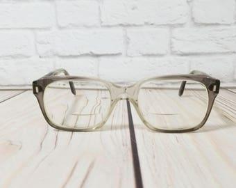 Vintage Grey Clear Horn Rimmed Military Issue Frames Retro Eyeglasses Eyewear
