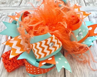 Mint Aqua Orange Over the Top Hair Bow,Orange and Aqua Bow Headband,Boutique Bows and Headbands,Girls Barrette Clips,Toddler Custom Bows