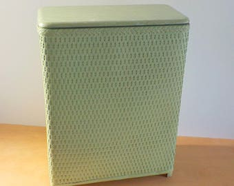 Vintage Mid Century Laundry Hamper • 1950s Mint Green Laundry Basket • Vintage Woven Clothes Basket