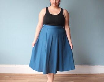 plus size skirt | teal plus size vintage skirt | 1980s XXL