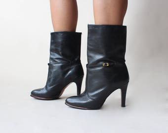 vintage black leather high heeled booties, size US 8 | EUR 38