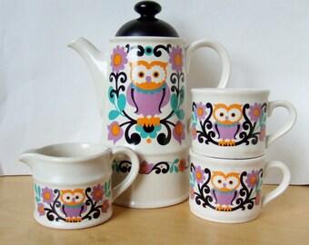 1970s Groovy Owl Coffee Set by Sadler - Coffee Pot, Mugs and Milk Jug in Colourful Folk Art Design
