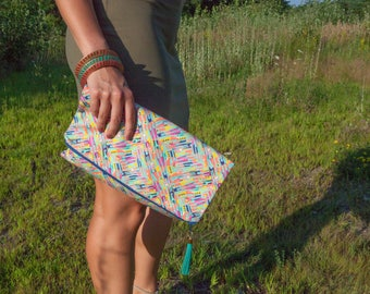 Fold over Clutch made from Painting, Large Clutch Handbag, Gift for her, Fold Over Clutch, Abstract Clutch, Made in the USA, Geometric Purse
