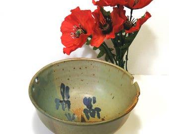 Vintage William Creitz Stoneware Rice Bowl/ Studio Pottery with Iris Motif on Earthtones/ Signed