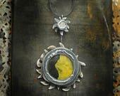 Solar Eclipse Necklace, Bumblebee Jasper Jewelry, Yellow Black Pendant, Sterling Silver Wearable Art, Sun Moon Astrological Sculpture Bold