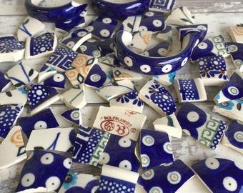 Mosaic Tiles Polish Pottery Boleslawiec 50 Pieces Hand Cut Broken China Shard Art