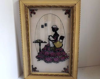 Vintage Reverse Painted Silhouette Foil Framed Picture Woman Sewing Art Deco 1920s 1930s