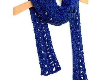 Boho Scarf - Crochet Skinny Scarf - Womens Neck Wrap - Lace Neck Warmer - Heather Royal Blue