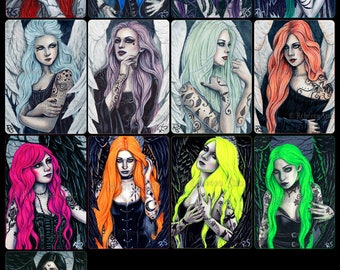 Gothic Angels ACEO Prints Limited Edition Colors Hair Wings Tattoos Artist Trading Cards ATC - Individually or Set