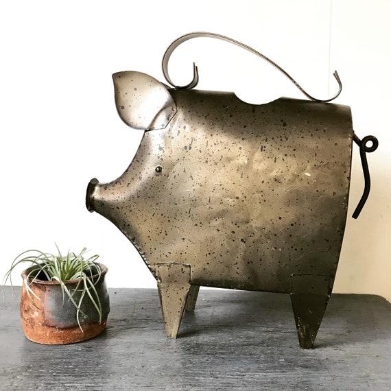metal pig watering can - sprinkling can - garden decor - indoor outdoor plant care - patio balcony deck