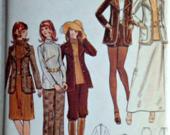 Sewing Pattern, Vintage 70's Butterick 6452, Misses' Jacket, Dress, Top, Skirt, Pants, Shorts & Knickers, Size 12 34 Bust, Uncut FF