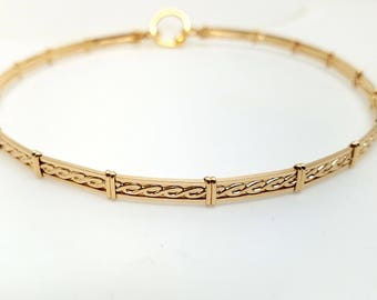 Ultra Discreet Rope Motif Slave Collar-14kt yellow Gold Filled-MADE TO ORDER Tool for clasp not included in purchase see listing details