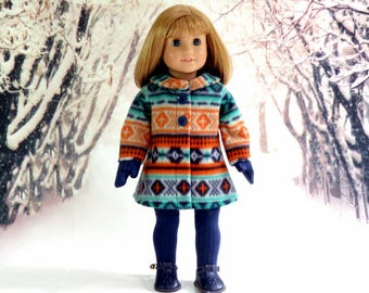 18 inch Doll Clothes Tribal Print Winter Coat with Socks and Mittens