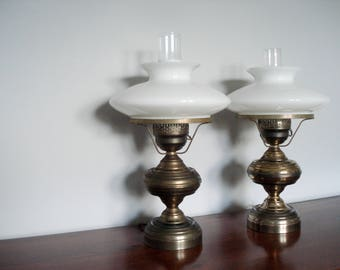 Pair of 1960s table lamps - gorgeous brass tone - atomic shade meets traditional shapes