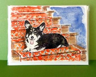 Cardigan Welsh Corgi, Hand Painted Dog Card, Corgi Card, Corgi Painting, Watercolour Art, Corgi Lover Gifts, Original Painting, Dog Portrait