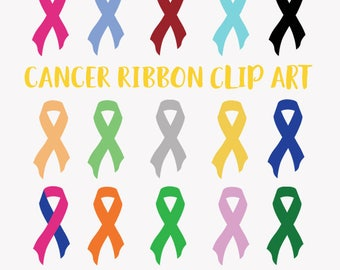 Cancer support ribbons clipart, breast cancer, prostate cancer, child cancer, charity fundraising ribbon symbol clip art, colors (LC29)