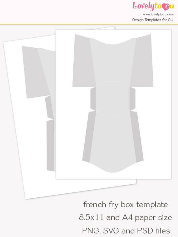 Mini french fry box template candy box printable sheet blank for French fries packaging template