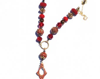 Red Boho Bead Necklace