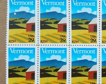Vintage unused postage stamps - state stamps, Vermont stamps, 29 cents, a lot of 8 stamps