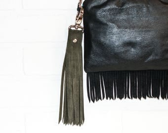 """10"""", green tassel, suede tassel, recycled leather, leather bag charm, leather fringe, leather keychain, upcycled, wholesale, stacylynnc"""