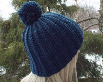 Dark Denim Blue Crochet Hat, Womens Beanie with Pom Pom, Chunky Hat, Classic Ribbed Beanie, Mens Winter Hat, Fitted Hat