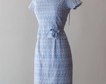 Vintage 1950s Dress - 1960s / 50s Power Blue Floral Embroidered Eyelet Wiggle Dress