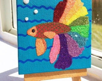 Glitter Betta Fish miniature original painting