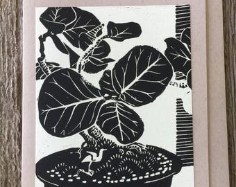 Seagrape Bonsai and Bird Note Card, hand-made linocut artist print