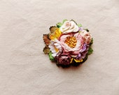 Berry blush pink yellow white mauve purple green daisy mix Handmade Roses Vintage style Millinery flower corsage